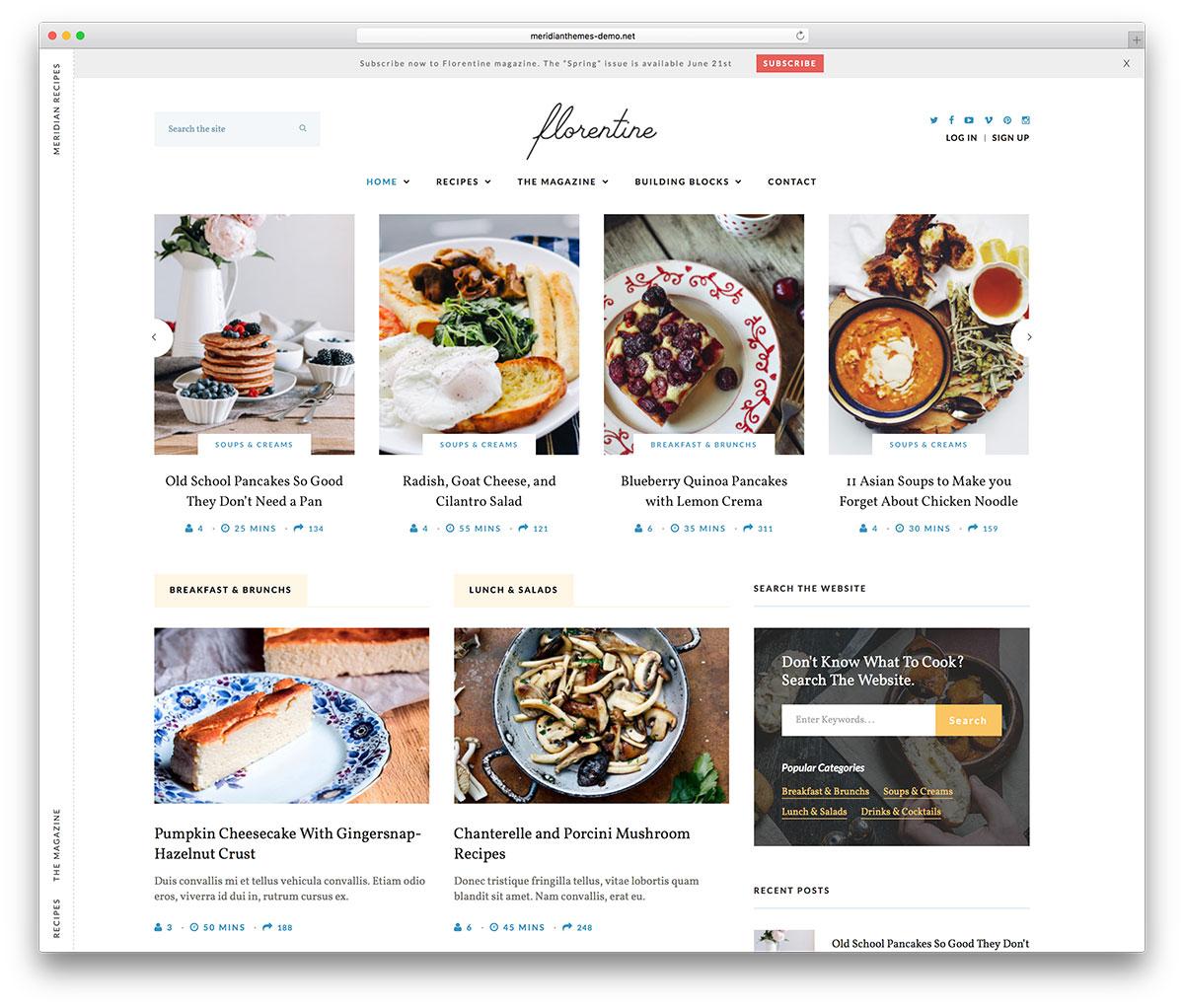 Mejores temas wordpress para blogs de cocina for Blog cocina wordpress